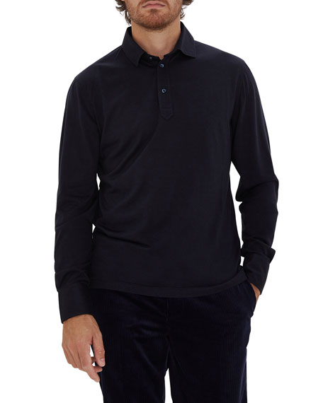 Brunello Cucinelli Men's Silk-Cotton Long-Sleeve Polo Shirt