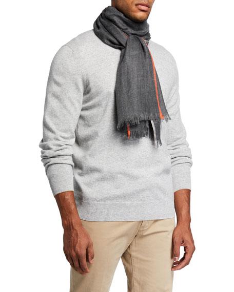 Brunello Cucinelli Men's Light Cashmere-Silk Plaid Scarf