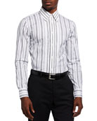 Alexander McQueen Men's Striped Poplin Sport Shirt
