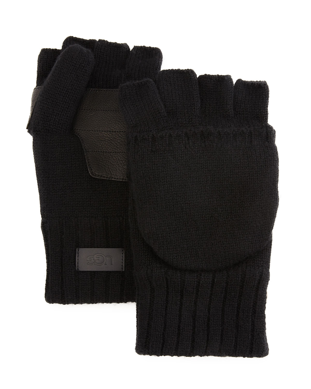 Men's Wool-Cashmere Flip Mittens w/ Faux Fur