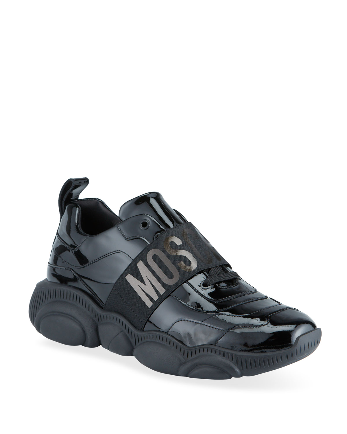 Moschino MEN'S PATENT LEATHER CHUNKY SNEAKERS WITH LOGO STRAP