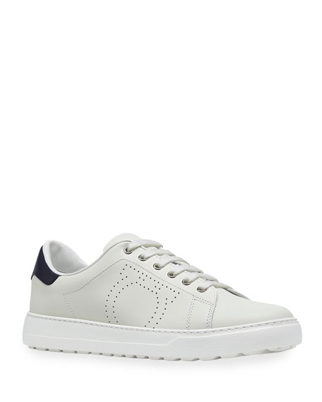Salvatore Ferragamo Men's Pierre Perforated Gancio Low-Top Sneakers