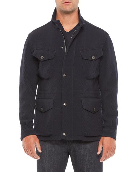 Giorgio Armani Men's Herringbone Wool-Blend Field Jacket