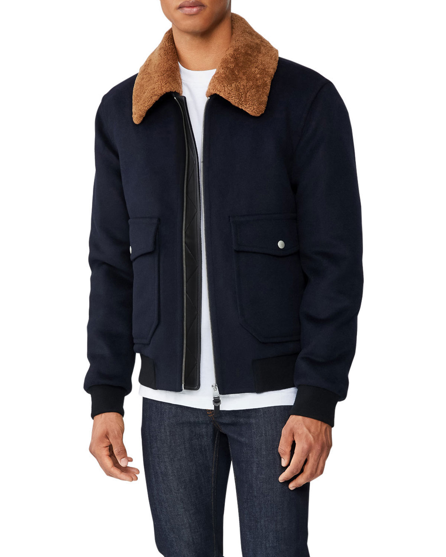 Men's Theo Wool Bomber Jacket w/ Shearling Collar