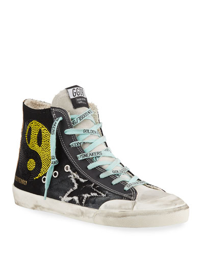 Men's Francy High-Top Sneakers w/ Smile Patch