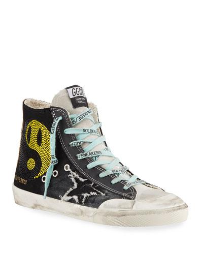 Men's Francy High-Top Sneakers w/ Smile Patch