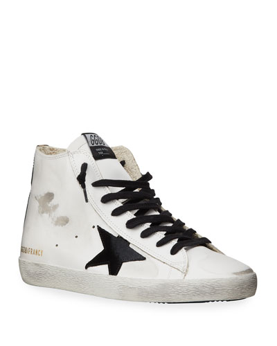Men's Francy Leather High-Top Sneakers w/ Camo-Printed Heel