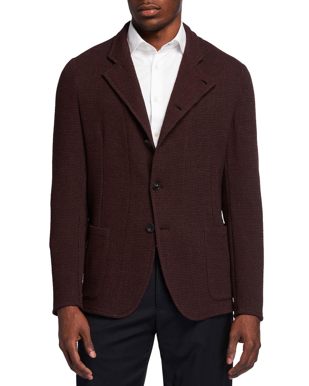 Men's Soft Textured Knit Sport Jacket