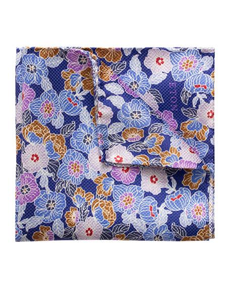 Eton Men's Floral Silk Pocket Square