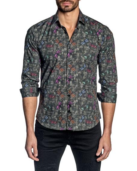 Jared Lang Men's Dragonfly-Print Sport Shirt