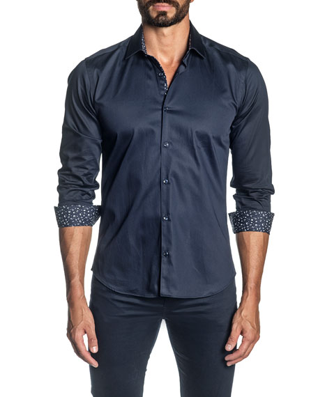 Jared Lang Men's Solid Contrast-Reverse Sport Shirt