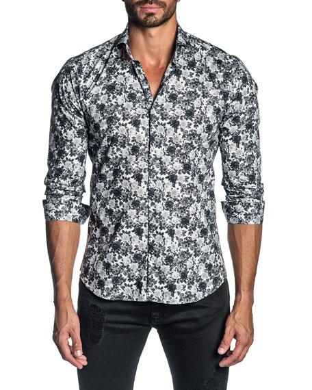 Jared Lang Men's Floral-Print Sport Shirt