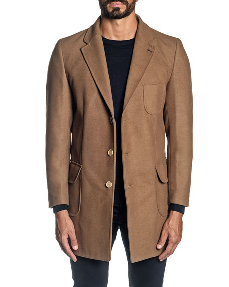 Jared Lang Men's Solid Wool-Blend Topcoat
