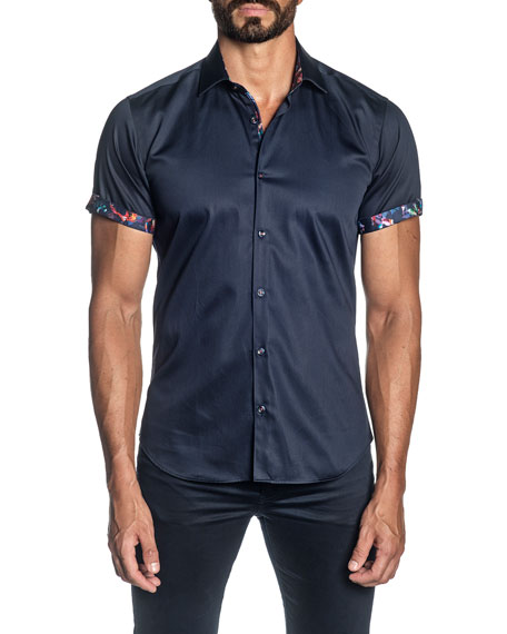 Jared Lang Men's Short-Sleeve Contrast-Reverse Sport Shirt