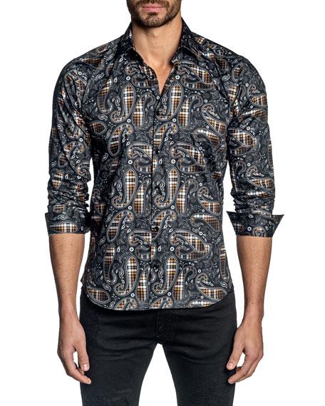 Jared Lang Men's Plaid Paisley Sport Shirt