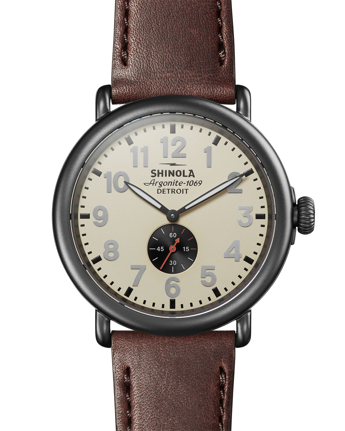 Men's 47mm Runwell Sub-Second Leather Watch
