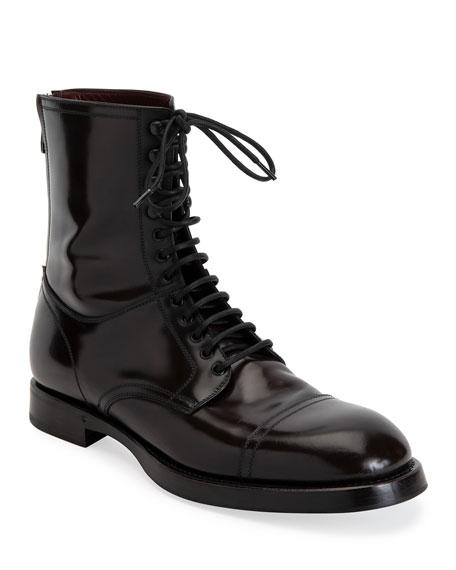 Dolce & Gabbana Men's Runway Lace-Up Combat Boots