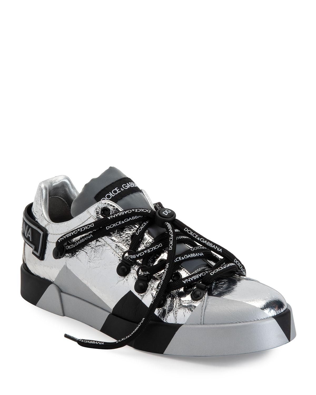 Dolce & Gabbana Men's Portofino Mix-media Sneakers In Silver