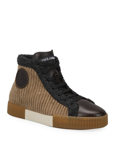 Men's Runway Mix-Media High-Top Sneakers