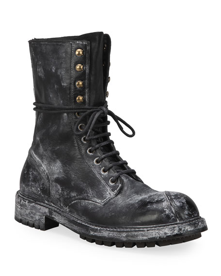 Dolce & Gabbana Men's Runway Distressed Leather Combat Boots
