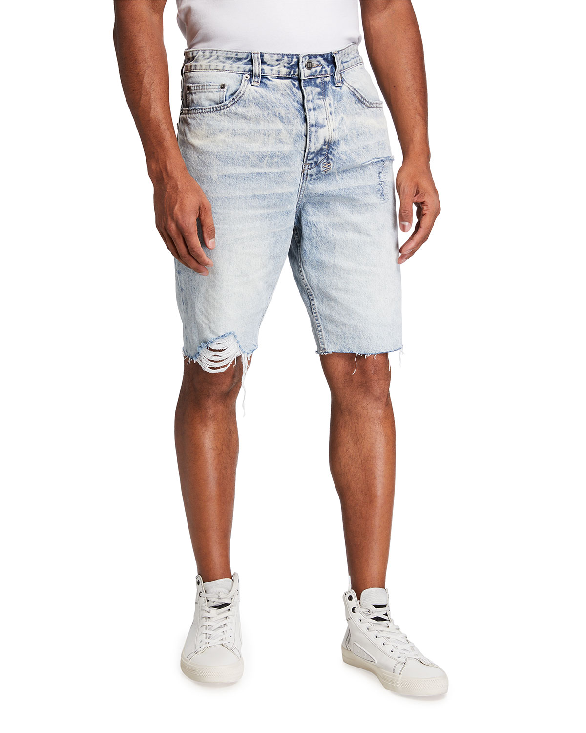 Ksubi MEN'S WOLF DISTRESSED CUTOFF DENIM SHORTS