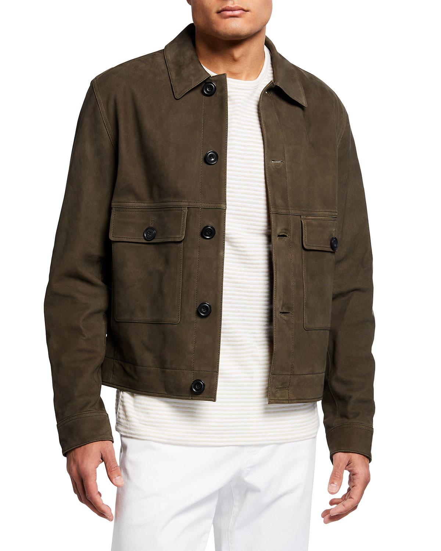 Men's Nubuck Lamb Button-Front Jacket