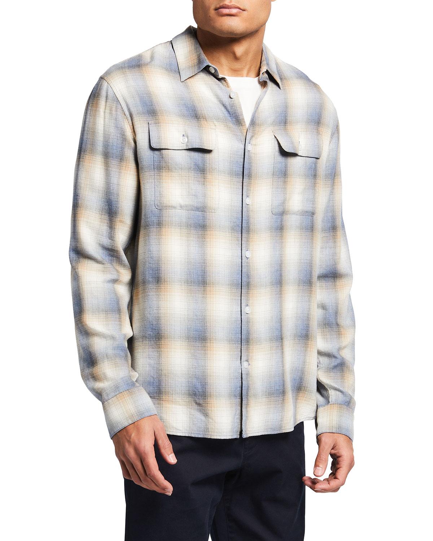 Vince T-shirts MEN'S CLASSIC-FIT SHADOW PLAID SPORT SHIRT