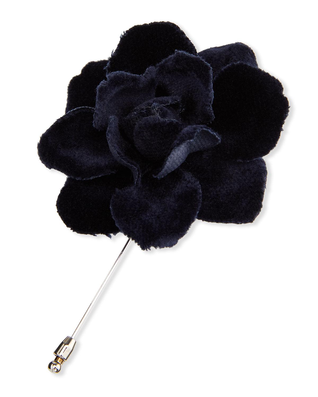 Men's Velvet Gardenia Flower Lapel Pin