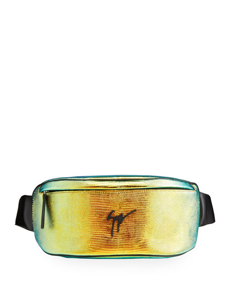 Giuseppe Zanotti Men's Torres Iridescent Lizard-Print Belt Bag