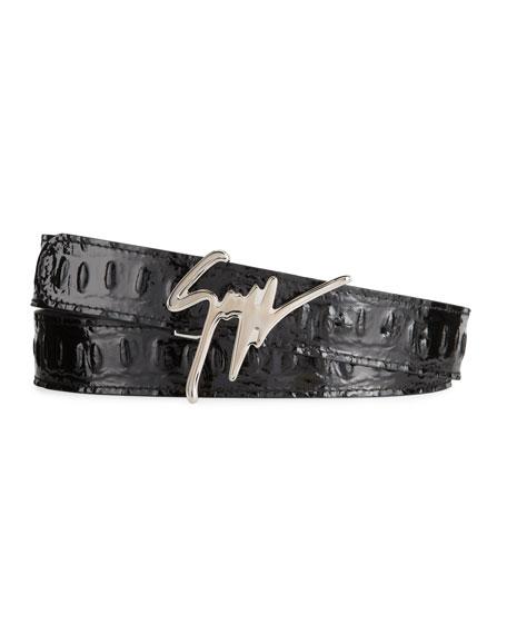 Giuseppe Zanotti Men's Vernischa Croc-Embossed Logo Script Buckle Belt