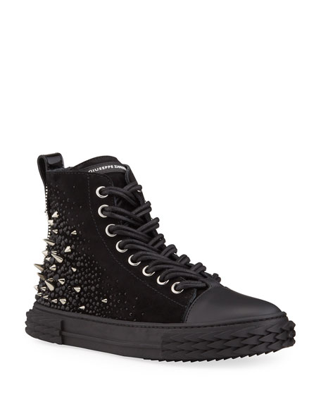 Giuseppe Zanotti Men's Blabber Swarovski Crystal High-Top Sneakers