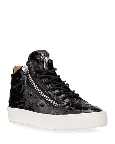 Men's Vernisha Croc-Embossed Patent Sneakers