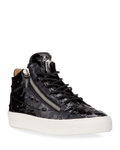 Men's Vernisha Croc-Embossed Patent Sneakers