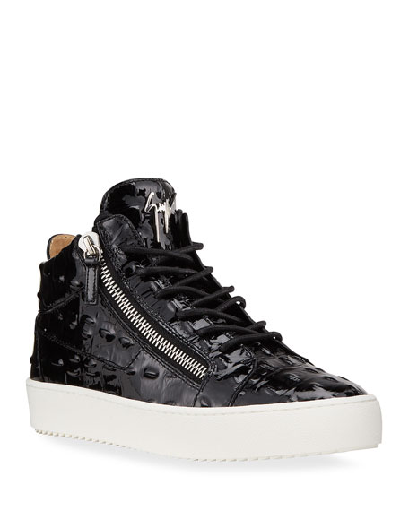Giuseppe Zanotti Men's Vernisha Croc-Embossed Patent Sneakers