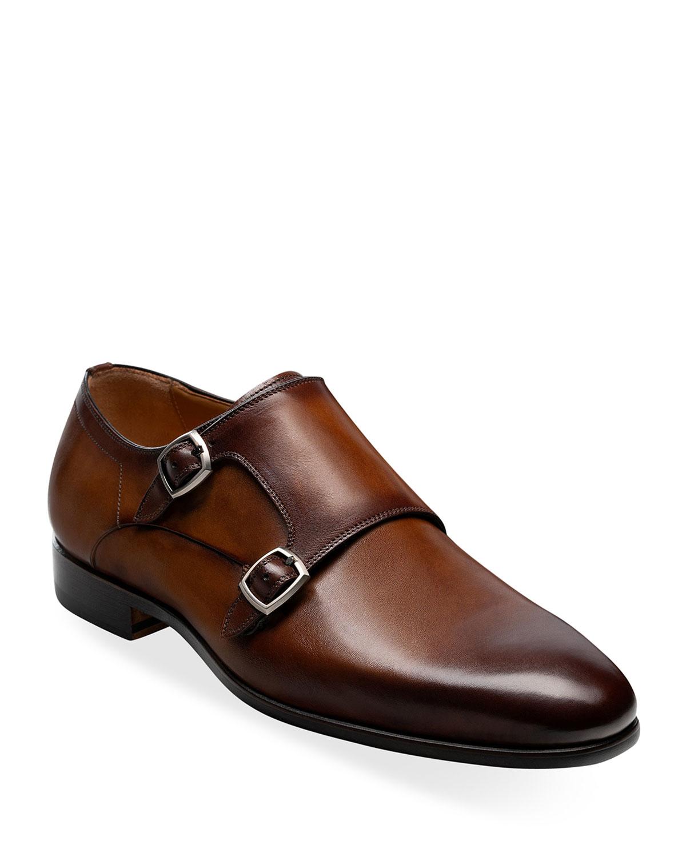 Men's Lisbon Double-Monk Leather Loafers