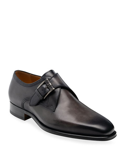 black single monk strap shoes