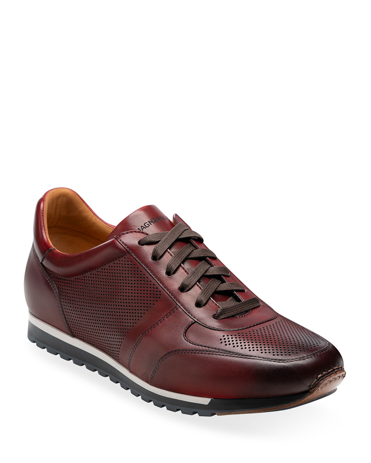 Men's Burnished Leather Trainer Sneakers