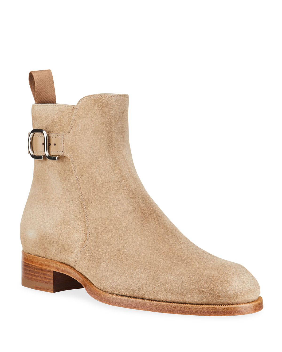 Christian Louboutin MEN'S VALIDO SUEDE RED SOLE CHELSEA BOOTS