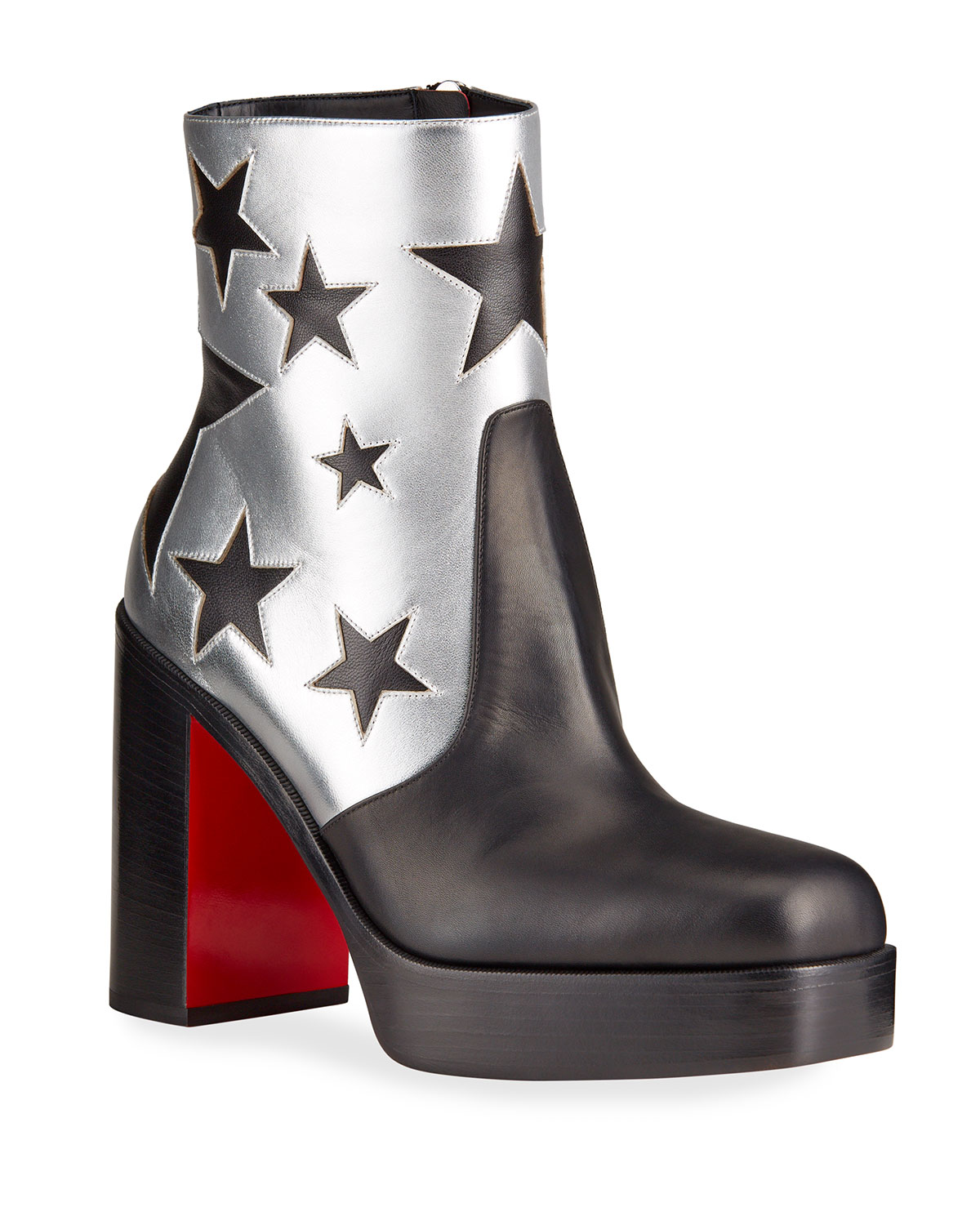 Christian Louboutin MEN'S STAGE METALLIC STAR RED SOLE PLATFORM BOOTS