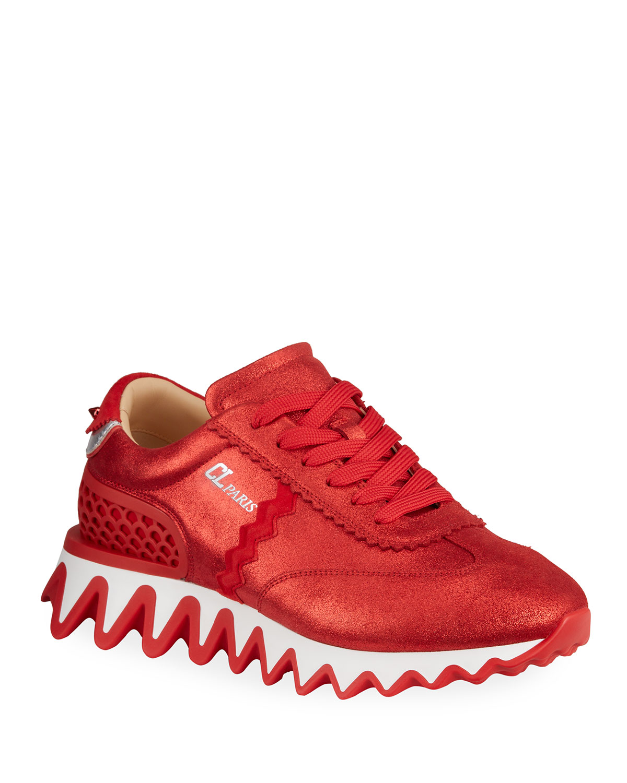 Christian Louboutin MEN'S LOUBISHARK FLAT METALLIC SUEDE RED SOLE RUNNER SNEAKERS