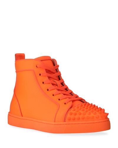 Men's Lou Spike Orlato Tonal Leather High-Top Sneakers