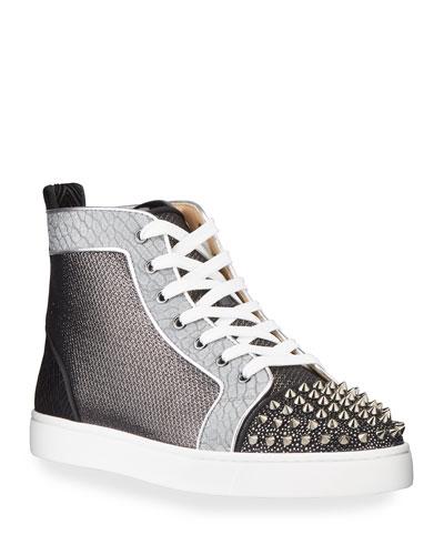 Men's Lou Spikes Orlato Metallic Leather/Velvet High-Top Sneakers