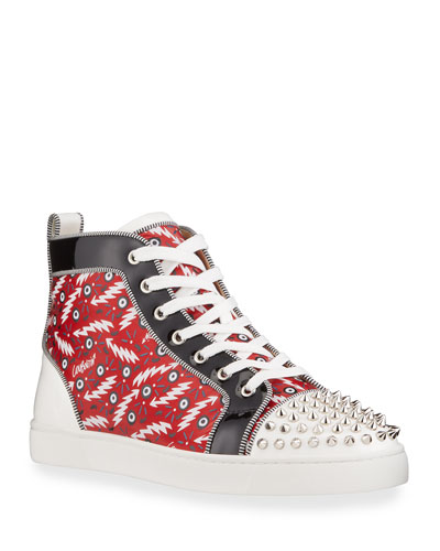 Men's Lou Spikes Orlato Abstract Logo Print High-Top Sneakers