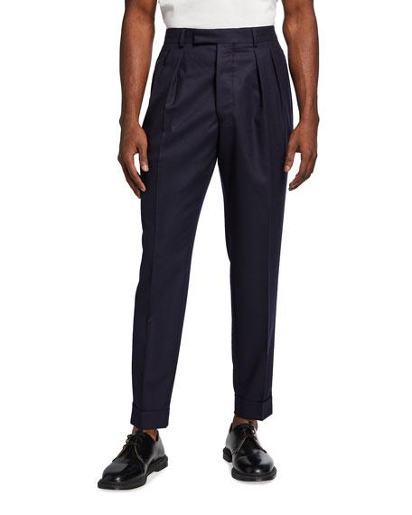 Officine Generale Men's Pierre Pleated Wool Flannel Dress Pants
