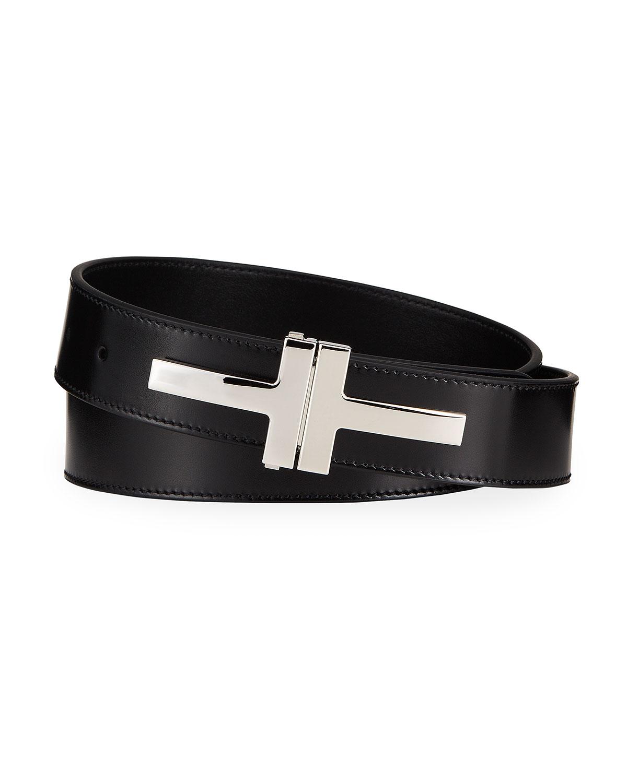 Tom Ford Belts MEN'S DOUBLE T LEATHER BELT