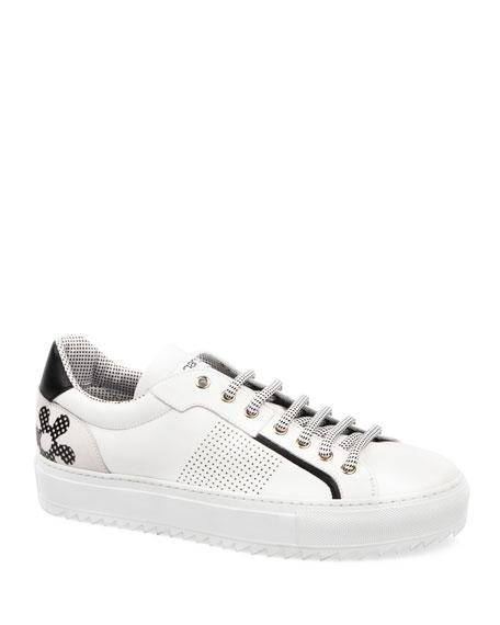 UNGARO Men's Polka-Dotted Flower Low-Top Sneakers