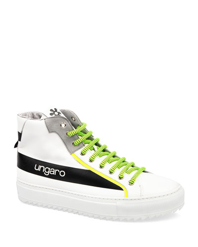 Men's Neon Suede & Leather High-Top Sneakers