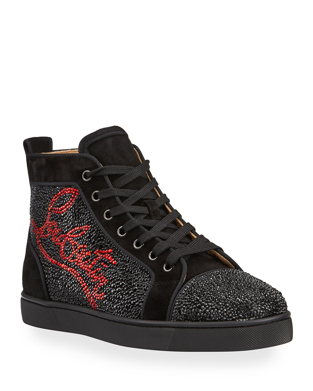 Christian Louboutin Crystals MEN'S LOUIS LOGO STRASS SUEDE HIGH-TOP SNEAKERS