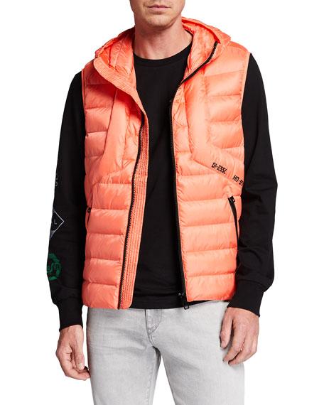 Diesel Men's W-Dwain-Sl Quilted Hooded Vest