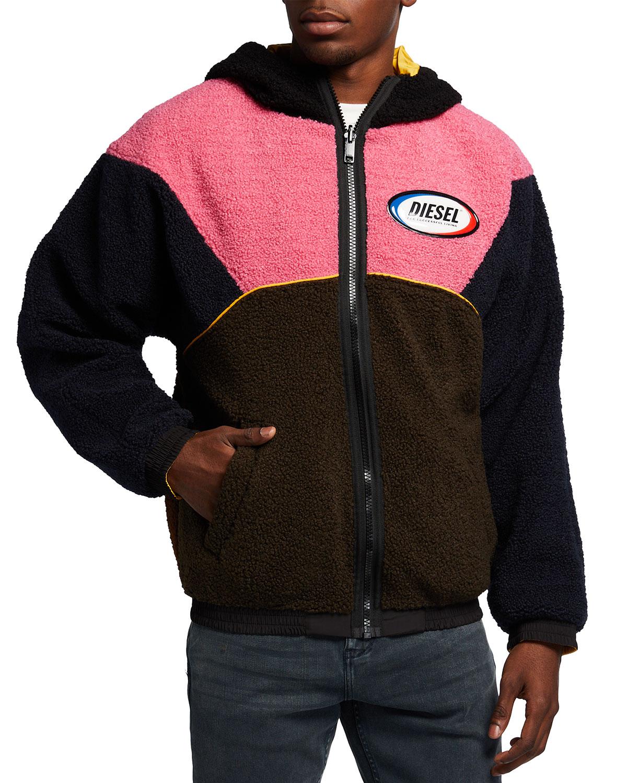 Men's W-Ethan Reversible Teddy-Nylon Combo Jacket